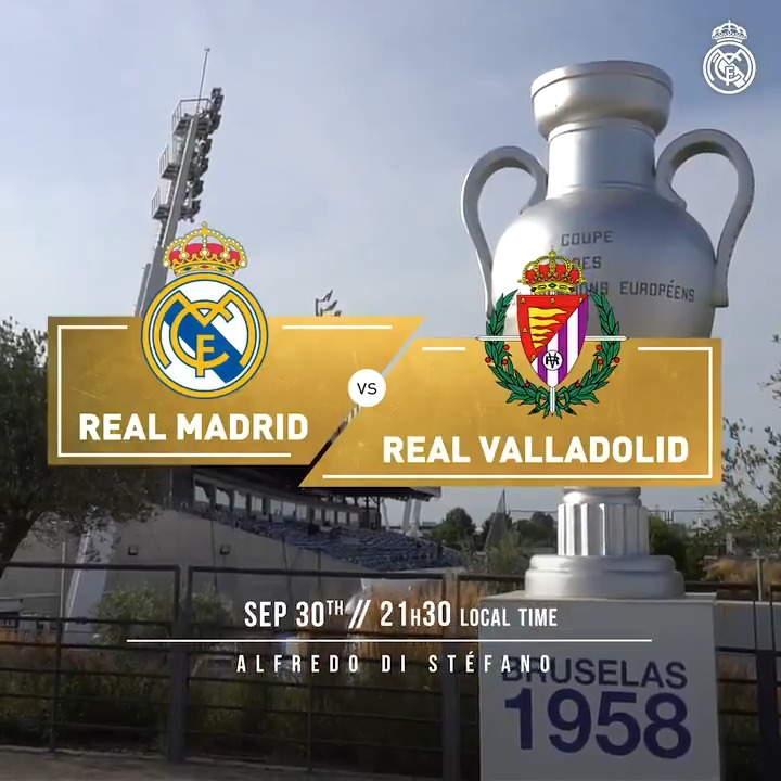 🙌 IT'S MATCHDAY! 🙌 🆚 @realvalladolidE 🏆 @LaLigaEN  👉 Matchday 4 🏟 Alfredo Di Stéfano ⏰ 21:30 CEST #⃣ #RMLiga | #RealMadridRealValladolid https://t.co/SWIQlQ9yjg