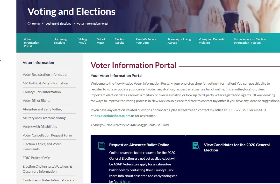 #TrustedInfo2020 Visit the official New Mexico Voter Information Portal at https://t.co/OZU05eCLaA for everything you need to know about elections and voting in New Mexico. #BeTheVote #TrustedInfo2020 #AllTogetherNM https://t.co/e6FcZ1Lk2r https://t.co/sTcDVht0n2