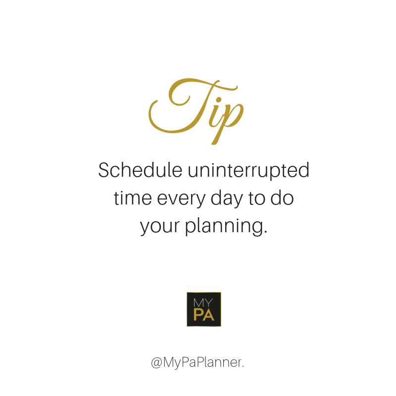 Schedule uninterrupted time every day to do  your planning. #Planning #Productivity ItsOkiveGotMyPa TipTuesday https://t.co/aB7AhSneUl