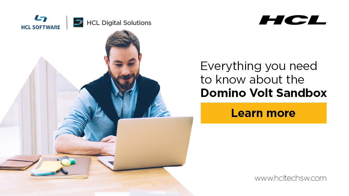 Haven't gotten started using the #HCLDominoVolt sandbox?  Come find answers in the forum or start a discussion with our team and other users. Learn more: https://t.co/JusROg6cMz #dominoforever #lowcode #hclswlobp