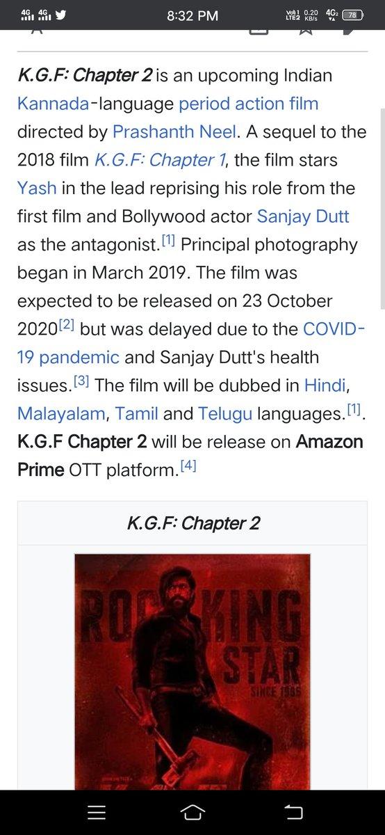 K.g.f chapter 2 released on amazon prime 23 of October 2020 # K.G.F.  #Amazon #Yash #KGF2 https://t.co/JtL1hbQjbv