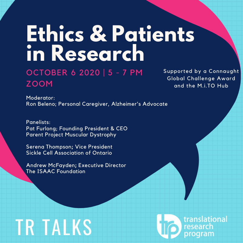 #WebinarTime: Don't miss out on our #ethics and #patients in research TR Talk on October 6th. Our distinguished panelists will talk about how scientific #innovations can be made more patient-centric. We look forward to hosting you virtually! https://t.co/CFoSx7qPd9 @SickleCellON https://t.co/4KourHwZSf