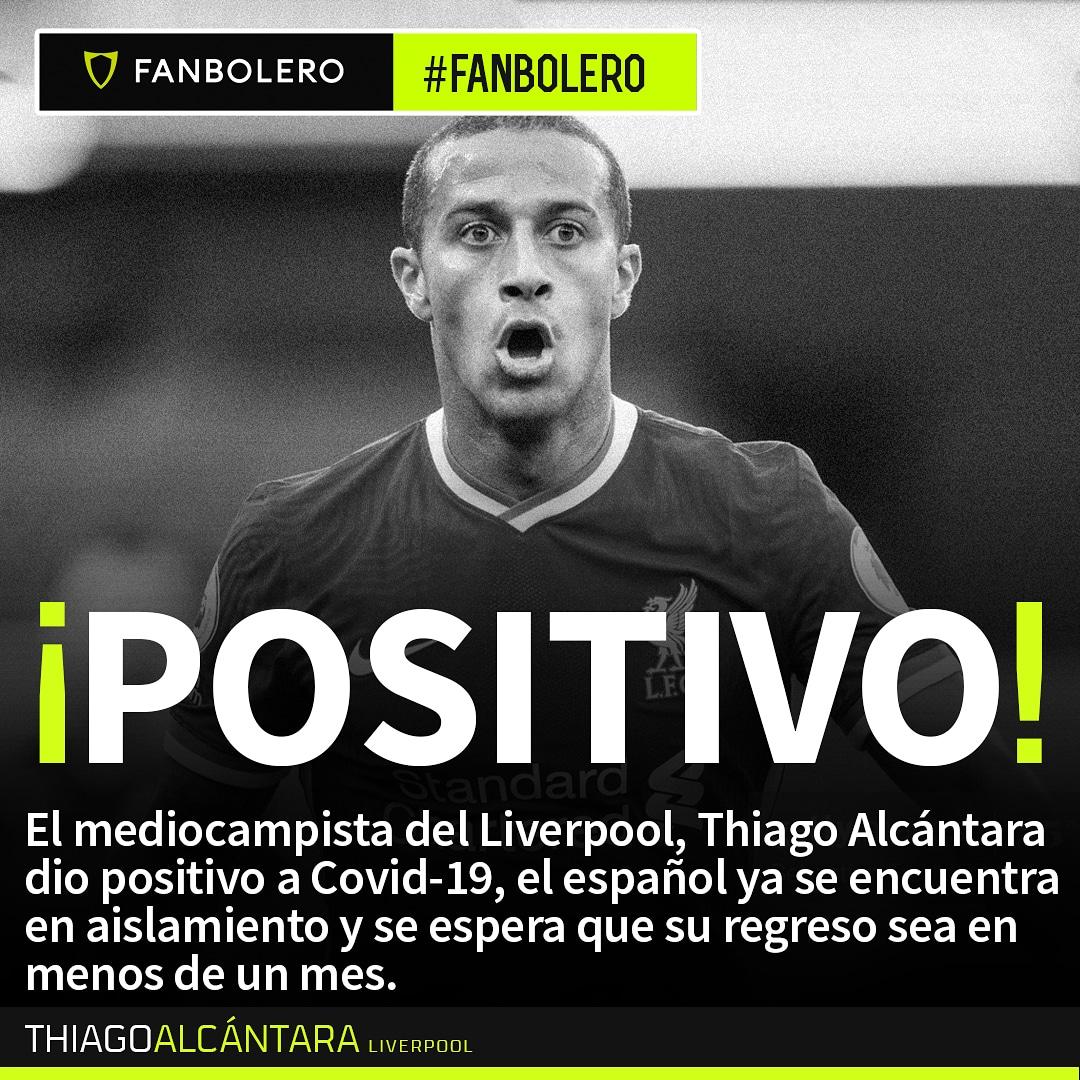 ¡Pronta recuperación, crack! 💪🏻🙏🏻🏥🇪🇸  #ThiagoAlcantara #Liverpool #COVID19 #SoyFanbolero https://t.co/w2RjnJZp5S