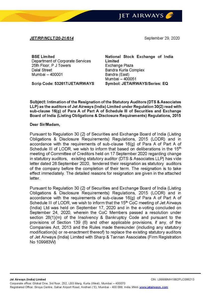Statutory Auditors (DTS & Associates  LLP) resigns as the auditors of #JetAirways (India) Limited. #avgeek #JetAirwaysCrisis #JetAirwaysRevival https://t.co/hakz9luw8p