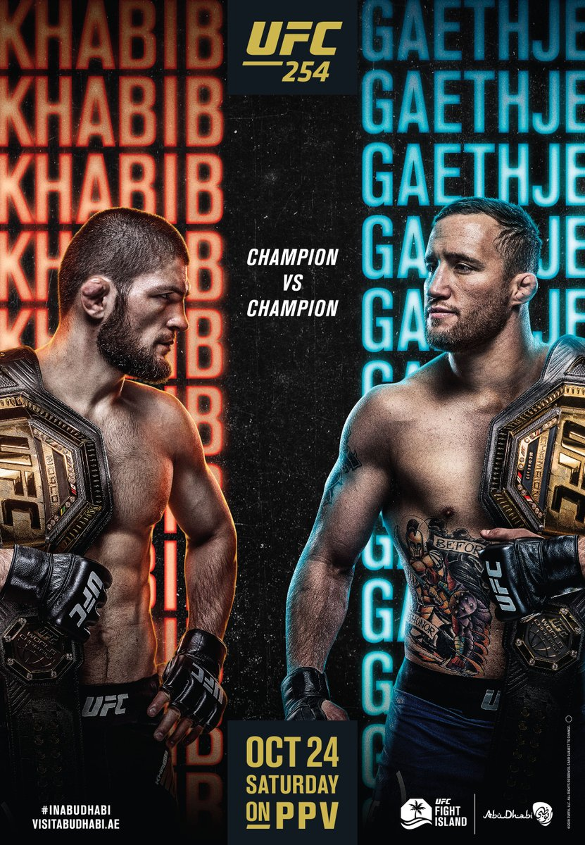 Khabib-Gaethje! Champ-Champ!  Who do you think leaves with the lightweight strap? 🏆  [ #UFC254 | #InAbuDhabi | @VisitAbuDhabi ] https://t.co/G5gjOzYYo8