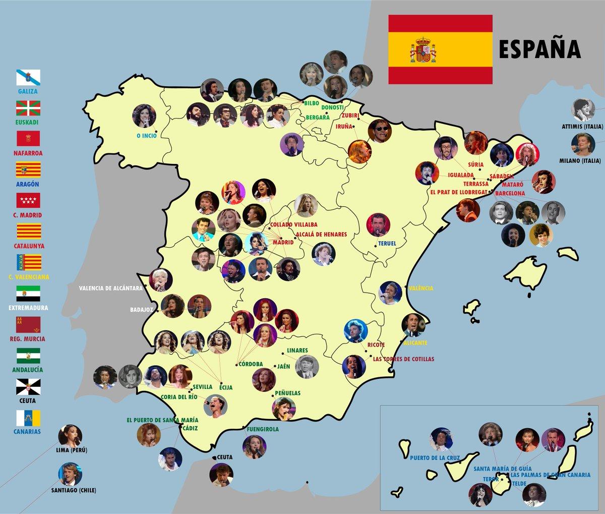 Os presento el mapa de nacimientos eurovisivos de 🇪🇸. Siento lo mastodóntico del resultado. Se pueden hacer varias lecturas. Una de ellas es que para representar a nuestro país en Eurovisión la meseta solo sirve para ir a Madrid a grabar la maqueta. Poca gente de pueblo también. https://t.co/gbq7RP581j