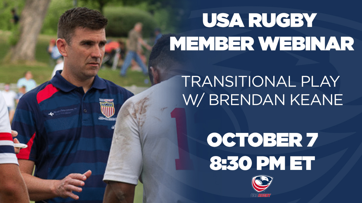 The game of rugby is getting faster. Improve your teams transitional play with USA Rugby Pathways Manager, Brendan Keane. Free with 2020-21 USA Rugby membership. REGISTER WEBINAR » usarug.by/TRANSITIONALPL… REGISTER USA RUGBY » usarugby.sportlomo.com