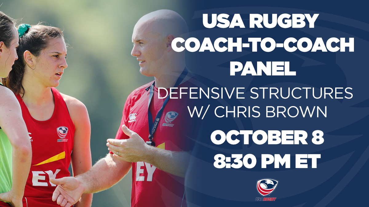 An exclusive forum for coaches to consult with USA Rugby High Performance, Join Womens Eagles Sevens Head Coach Chris Brown to personally discuss defensive structures in rugby. REGISTER PANEL » usarug.by/DEFENSESTRUCTU… REGISTER USA RUGBY » usarugby.sportlomo.com