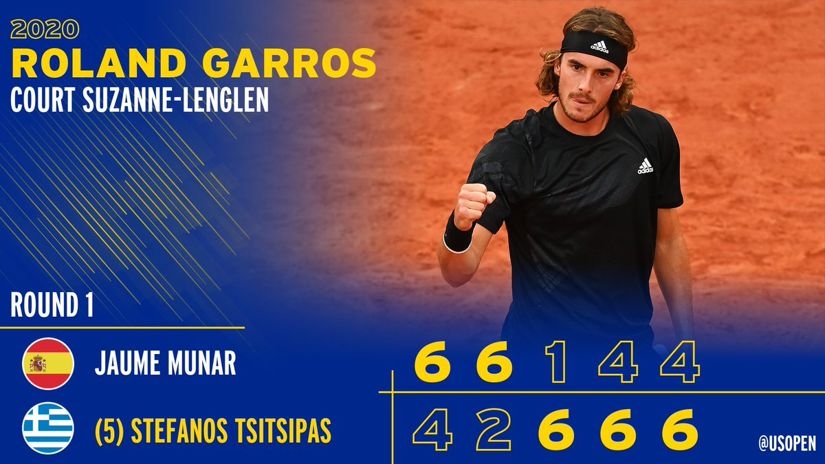 His big fat Greek comeback! 💪  Stefanos Tsitsipas rallies from two sets down to win his opening match at #RolandGarros https://t.co/eAeCESUy97
