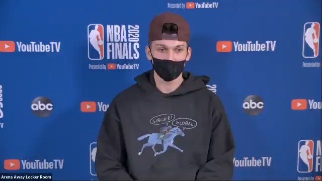Tyler Herro (@raf_tyler) discusses how his draft position motivates him to be great.  #NBAFinals presented by @YouTubeTV Media Availability  Game 1: Wednesday - 9:00pm/et, ABC https://t.co/XRyFNfr315