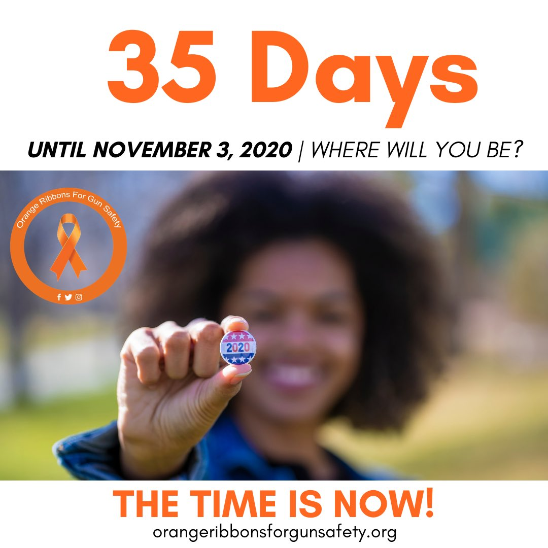 Election Day is coming — where will you be November 3rd? The time is NOW! Visit https://t.co/WsodTzurbl to make sure your voter registration is up to date!   #OrangeRibbonsForGunSafety https://t.co/p6I1aRBrOD