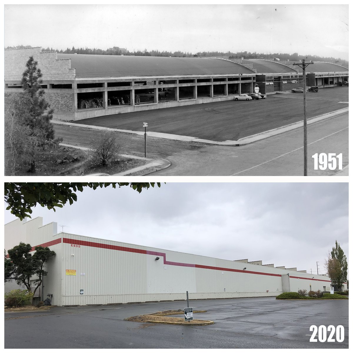 Did you ever wonder what the old Costco on Third Ave. in #Spokane was originally built for? It was the 1951 warehouse for trucking giant West Coast Fast Freight. Some of the roof trusses came from Farragut Naval Training Station.  https://t.co/E9N7t7Jp3I #History #ThenAndNow https://t.co/zdhvw72AmG
