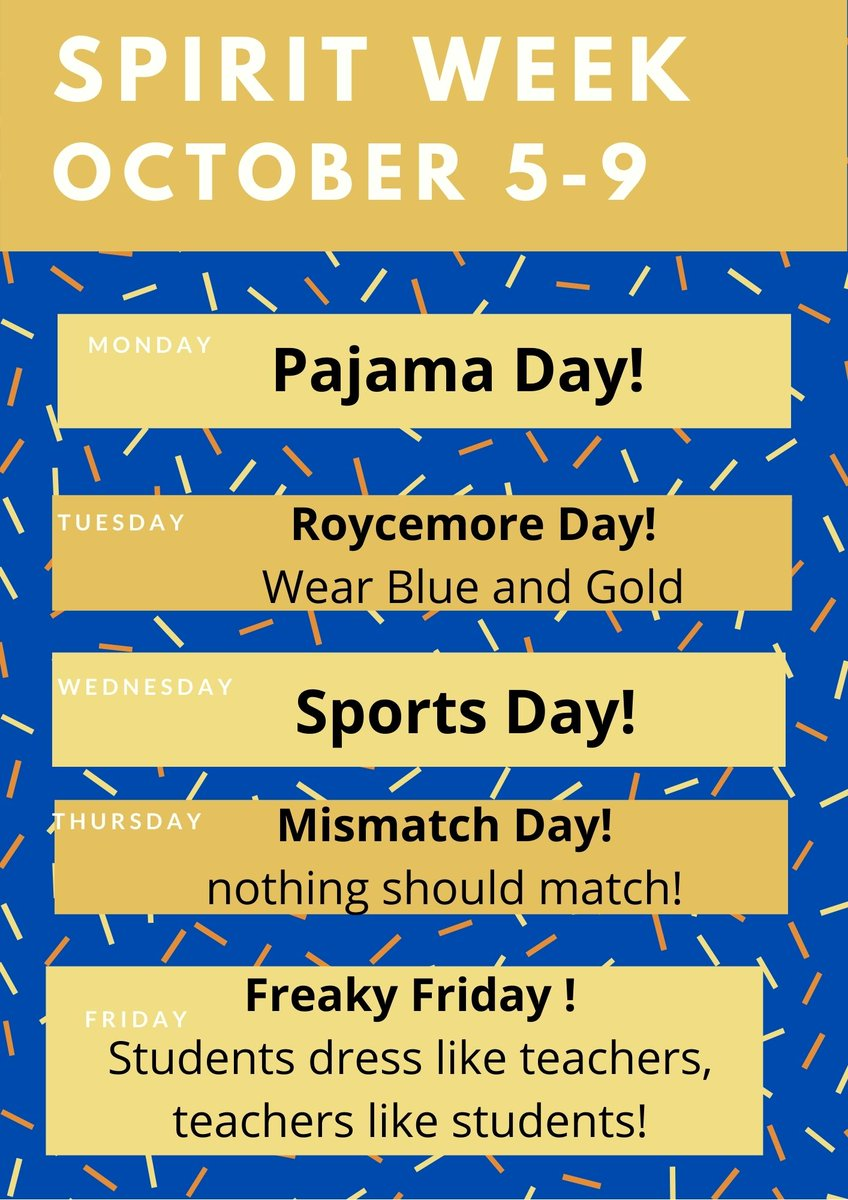Roycemore Day is October 6th. To celebrate, we have spirit week activities planned for all students. Go Griffins!  #roycemoreschool #upperschool #middleschool #lowerschool #schoolspirit #schoolpride https://t.co/GaNKzDM5FM