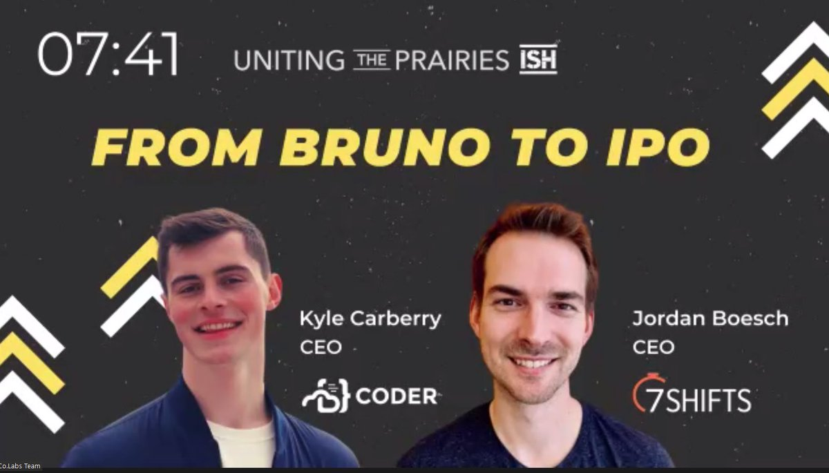 From Bruno To IPO - Keynote  Saving the best for last at @unitingprairies #upish   Kyle Carberry @kylecarbs @coderHQ  Jordan Boesch @7shifts https://t.co/IGxmipRelU