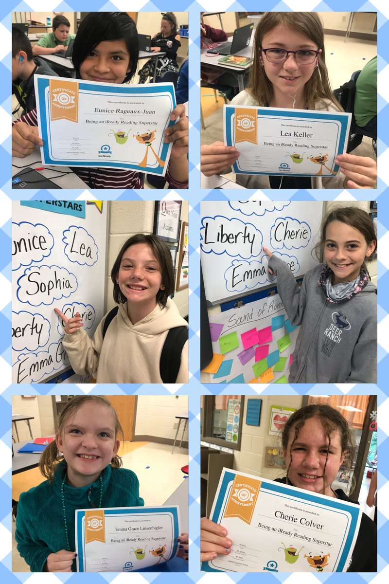 This week's iReady Reading 🌟Superstars🌟! Congratulations, Eunice, Lea, Sophia, Liberty, Emma Grace, and Cherie. #eessoars #girlpower https://t.co/20ykFU197a