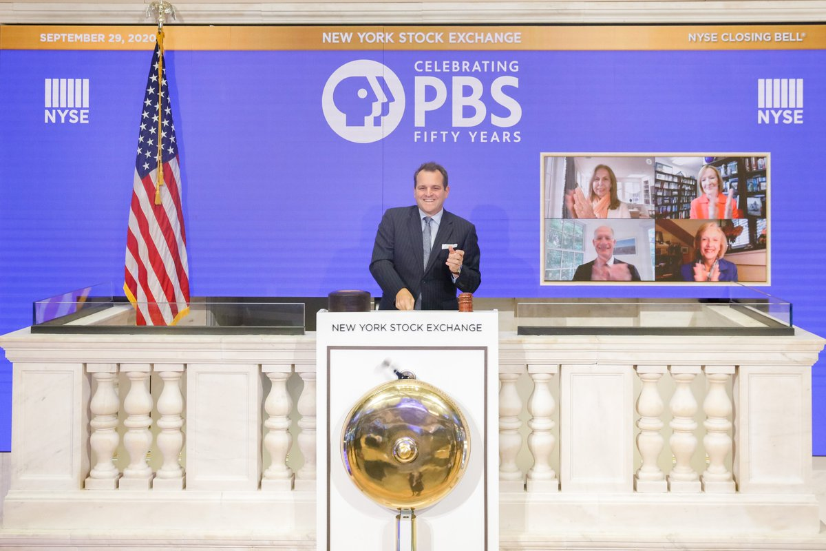A high honor today to ring the @NYSE Closing Bell to help celebrate 50 years of @PBS, joined virtually by Pres. @paulakerger, @NewsHour's @JudyWoodruff, PBS Foundation Chair @AfsanehMBesch & PBS Chair Don Baer. Congratulations on your Golden Jubilee, PBS! https://t.co/iChOGbPhZl