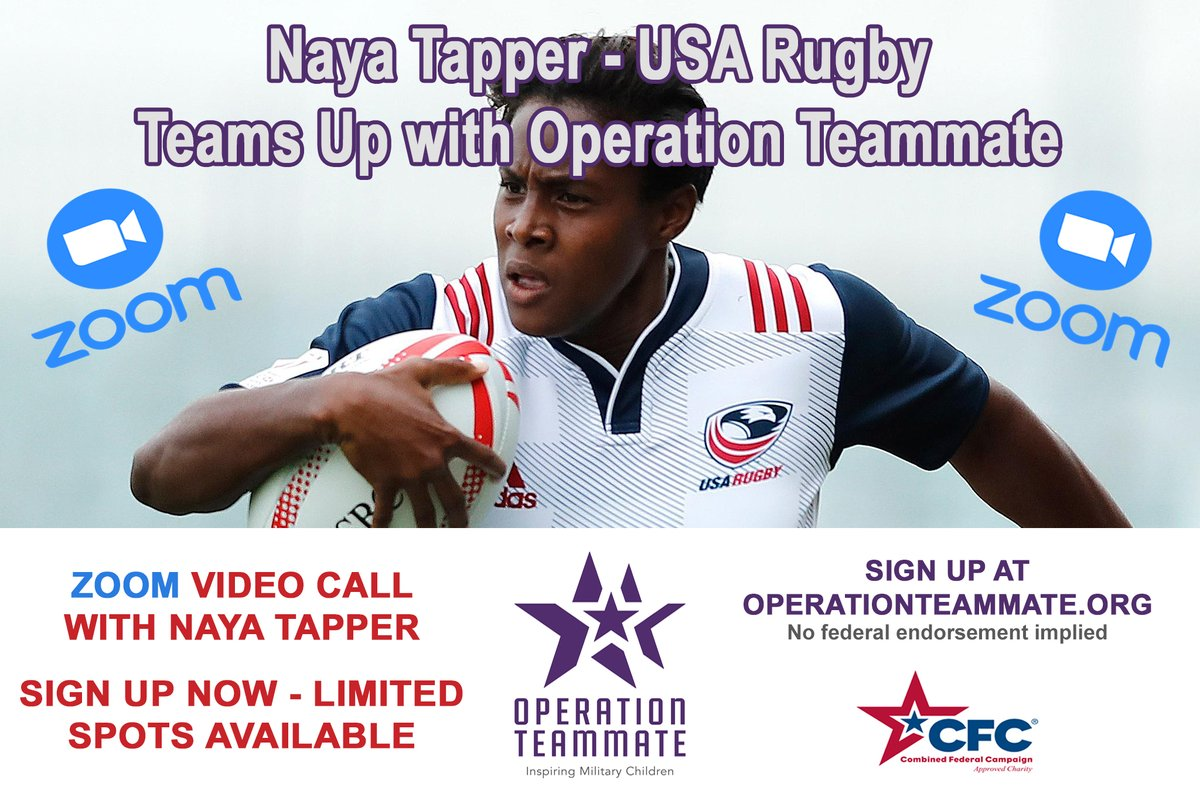 💥💥Join us as Operation Teammate welcomes Ms. @Nayatapper 🔥 Naya is a member of the U.S. Women's Rugby Team that has qualified for the 2021 Olympics in Tokyo & is a passionate supporter of our military children.🇺🇸🇺🇸🇺🇸 🥳Sign-up for this One-of-a-Kind event! #teamwork #Tokyo2021 https://t.co/CK1raMyuIY
