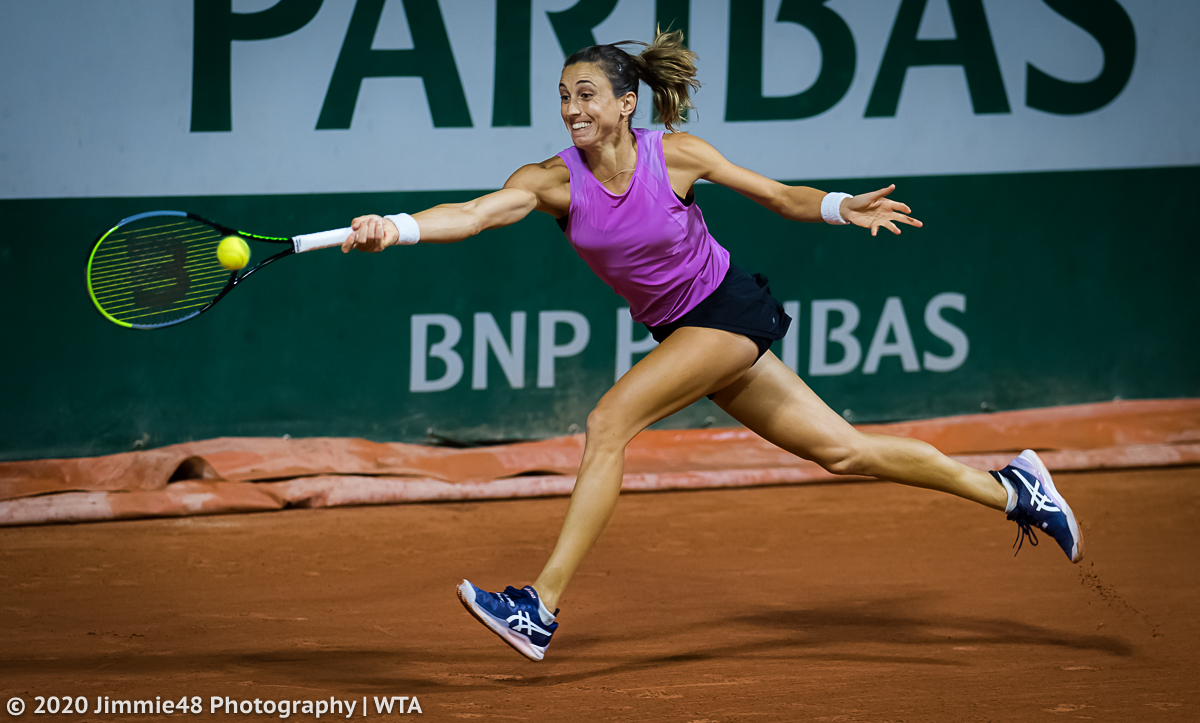 Petra Martic chases down a ball on her way to a straight set win tonight #RG20 https://t.co/HMGh4rWPw0