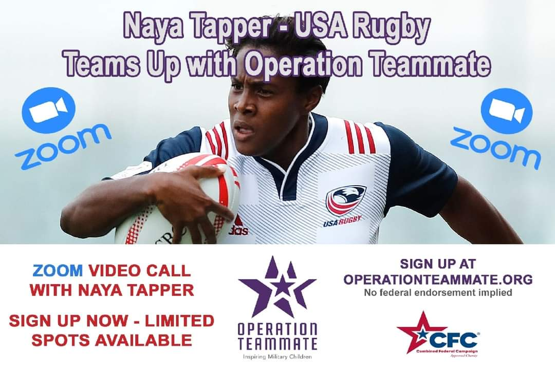 💥💥Join us as Operation Teammate welcomes Ms. @Nayatapper🔥 Naya is a member of the U.S. Women's Rugby Team that has qualified for the 2021 Olympics in Tokyo & is a passionate supporter of our military children.🇺🇸🇺🇸🇺🇸 🥳Sign-up for this One-of-a-Kind event! #teamwork #tokyo2021 https://t.co/NvYxJmo4JK