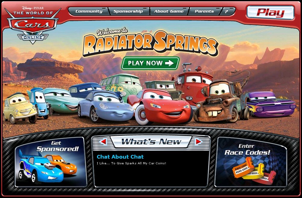 @Pixar Has anybody played The World of Cars Online (2008-2012) before? I remember playing this game when I was little. KACHOW!!! #Disney #Pixar https://t.co/ZRhPQjEvUF