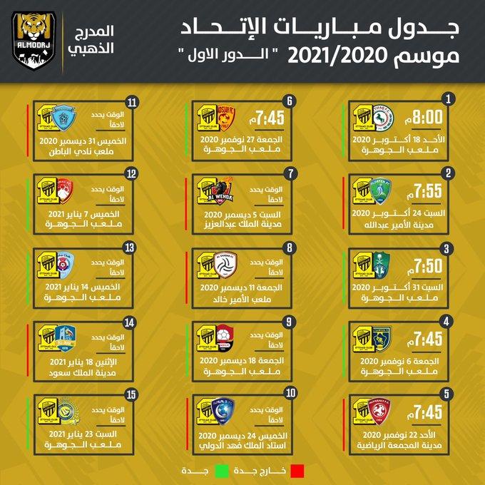جدول مباريات نادي الاتحاد لموسم 2021-2020 .