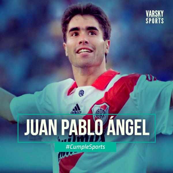 "Elegancia, inteligencia y gol. Dueño del kit completo del ""9"". Esencial en un gran #River. #CumpleSports Juan Pablo Ángel. https://t.co/3SuCcr8qcH"