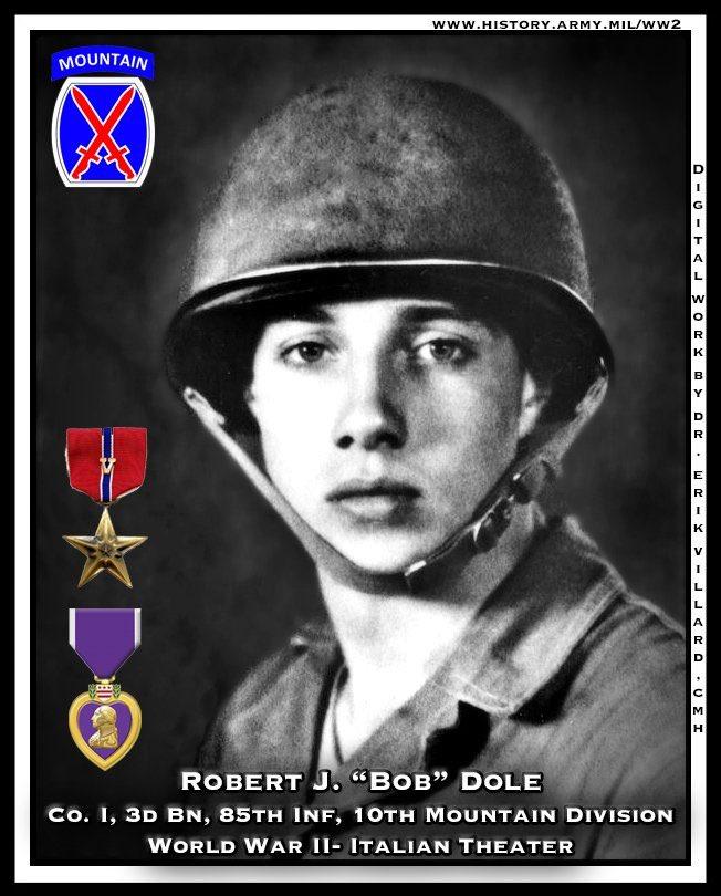 "@DoleFoundation @USAA Speaking of heroes! Robert J. ""Bob"" Dole, Co. I, 3d Bn, 85th Inf, 10th Mountain Division, World War II- Italian Theater Digital work by erikthehistorian (erik villard) CMH #WW2 @USArmyCMH https://t.co/TIuqSxwVUT"