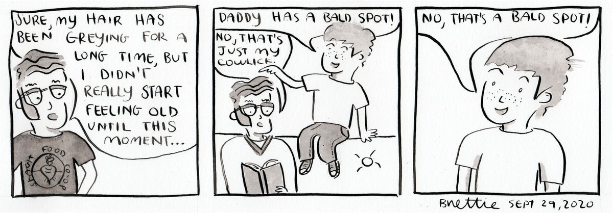 Sucks getting old ~ September 29th, 2020 #foomalauge #stayathomedad #aging #aged #father #baldspot #cowlick #greyhair #graying #gettingold #kids #comicstrip https://t.co/I8pD3Ll4Kg