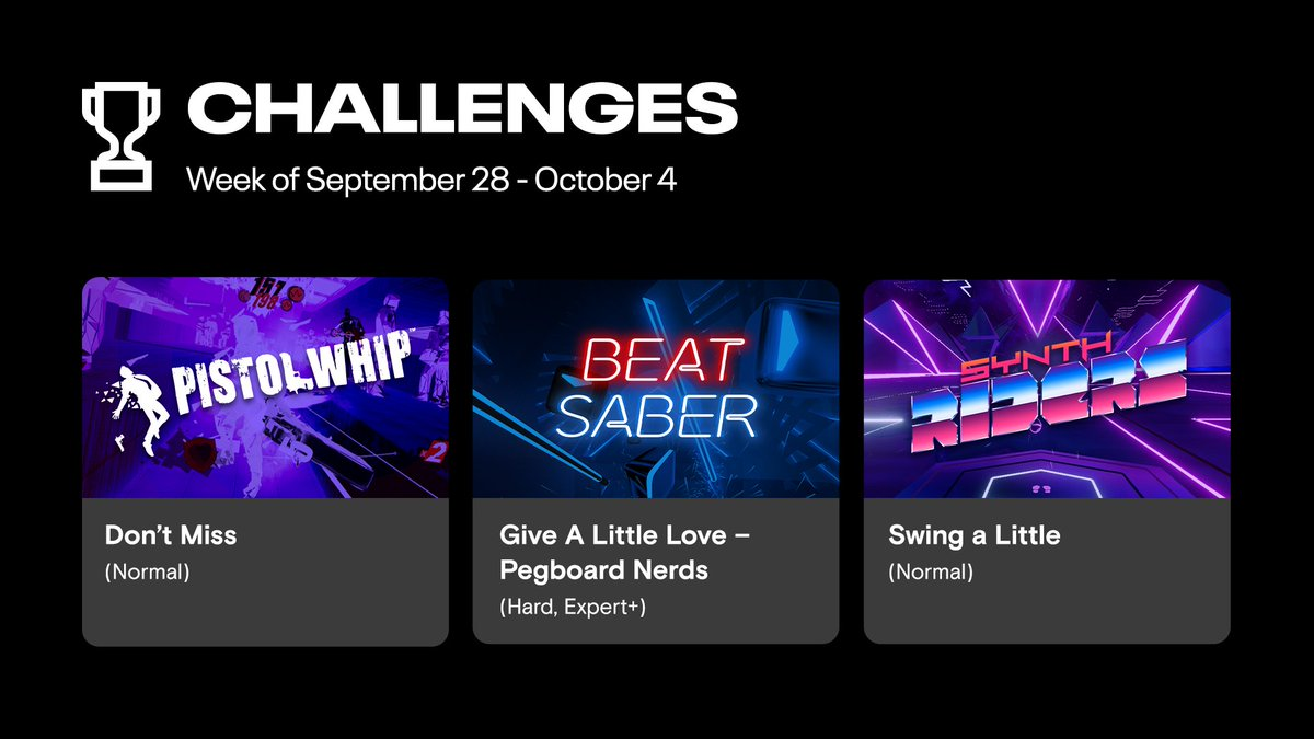 Introducing Challenges! With this weeks Featured Challenges, put your rhythm and reflexes to the test and compete for high scores in games like Beat Saber, Pistol Whip and Synth Riders. Open the Scoreboards app to participate today. Learn more: ocul.us/2EK3ULP