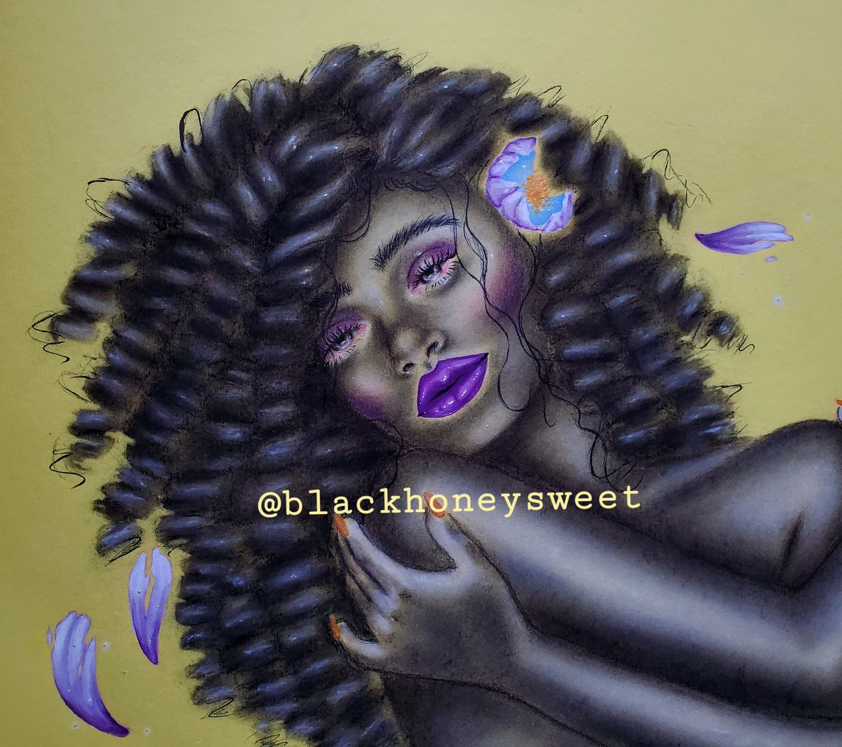 #drawingwhileblack  Heyo! My name is Meelah and I'm a NYC based artist. My art consists of female figures based on my mental state and life experiences.  #traditionalart #ArtistOnTwitter https://t.co/evrQyYmZ0B