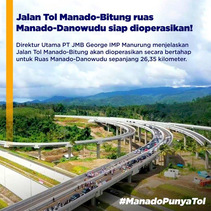 Jalan tol Manado - Bitung ruas Manado - Danowudu sepanjang 26,35 km siap dioperasikan. #ManadoPunyaTol #Indonesia #bersamakitabergerak https://t.co/SSdk2BNDhk