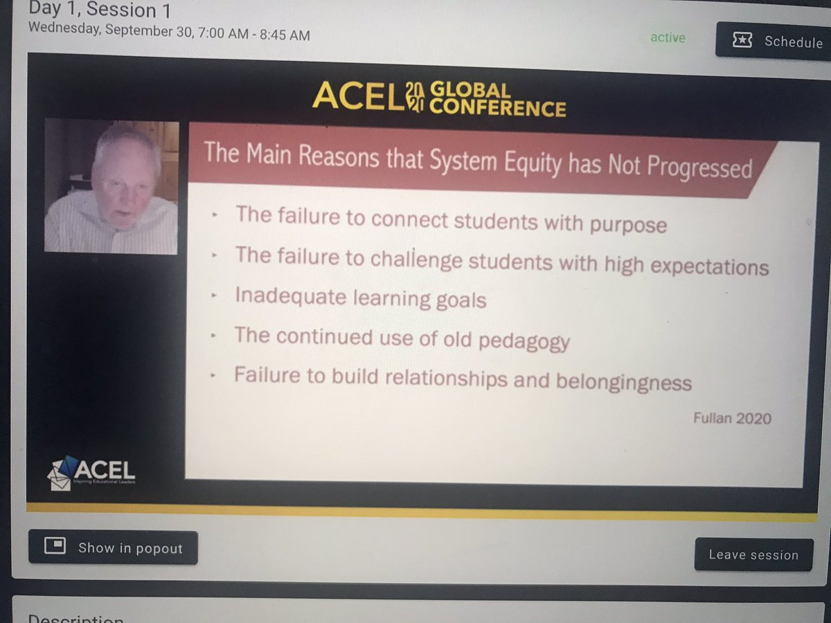 Reasons System Equity has not progressed... The strong stress on doing well academically is not an intrinsic motivator for students. Is the emphasis on academics motivating to students? Deep learning, the 6 C's, is where the motivation lies... #acelglobal2020 @MichaelFullan1 https://t.co/YncgJBIp5g