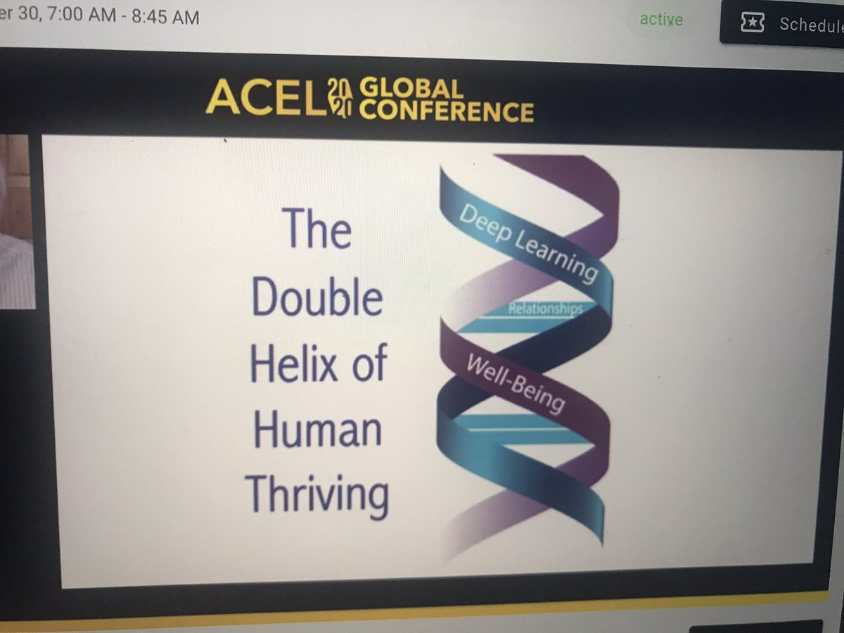 The double helix of human thriving = deep learning + wellbeing... 🤩@MichaelFullan1 #acelglobal2020 @acelaustralia @ACELWA https://t.co/S4SCVAVvxF