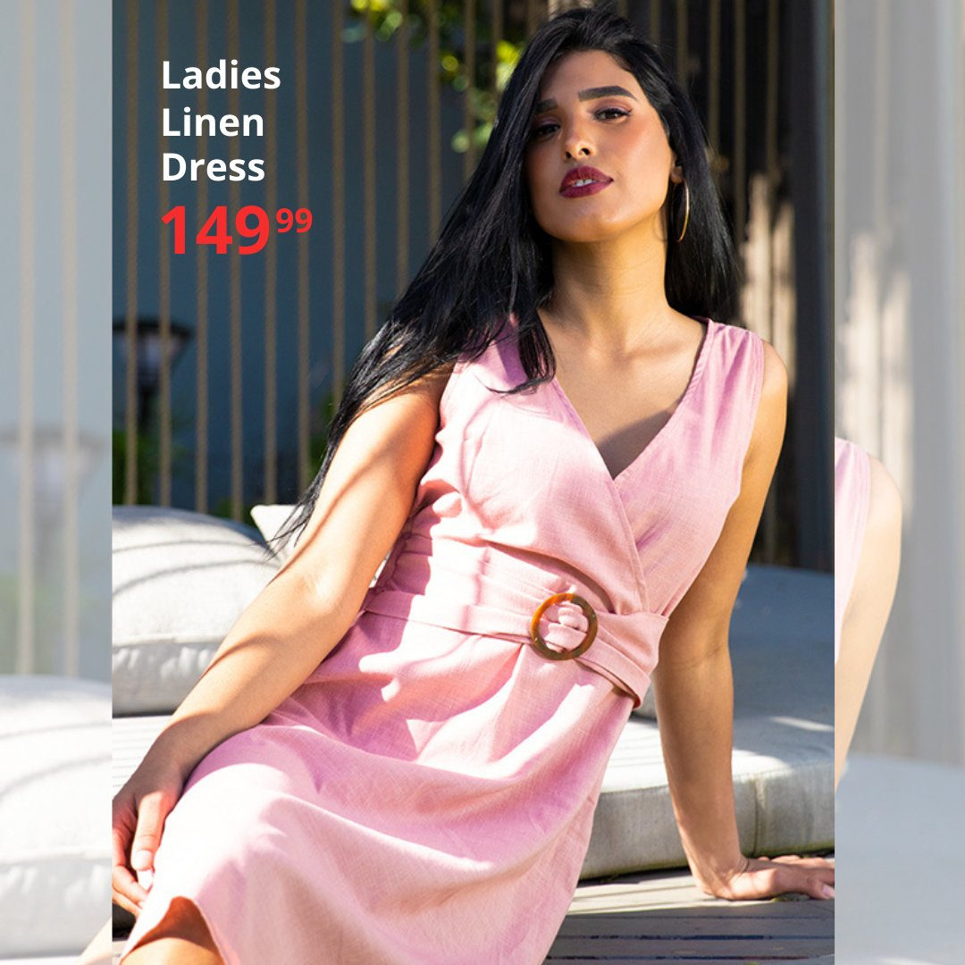 Pretty in pink 🎀 Ladies Linen Dress only 149.99  #choiceclothing #wearchoice #ladies #ladiesdresses