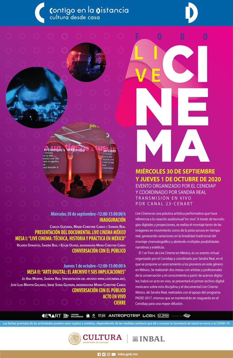 🗣️ MAÑANA se INAUGURA el 🎥 Primer Foro LIVE CINEMA EN MÉXICO Evento virtual que une a pioneros del género en MÉXICO.  ➡️ Organiza: CENIDIAP, INBAL. 📅  Mañana 30 de septiembre Y Jueves 1 de Octubre 🕒 De 12 a 15 h Transmisión en VIVO Por #InterfazCenart  https://t.co/VwP3RcM2Of https://t.co/QBCWhJVW6w