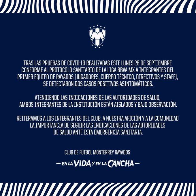 🚨🚨🚨🚨🚨🚨🚨🚨🚨🚨🚨🚨  Los #Rayados arrojan casos positivos por #COVID19 tras las últimas pruebas realizadas al equipo.  #Guard1anes2020 #LigaBBVAMX #LigaMX https://t.co/JZ39IJWP94