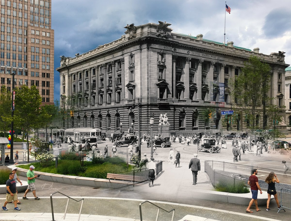 #Cleveland 100 years apart - view looking northeast from the steps of the @MonumentCLE in @CLEPublicSquare .  #ThenAndNow https://t.co/EGW04zp4GZ