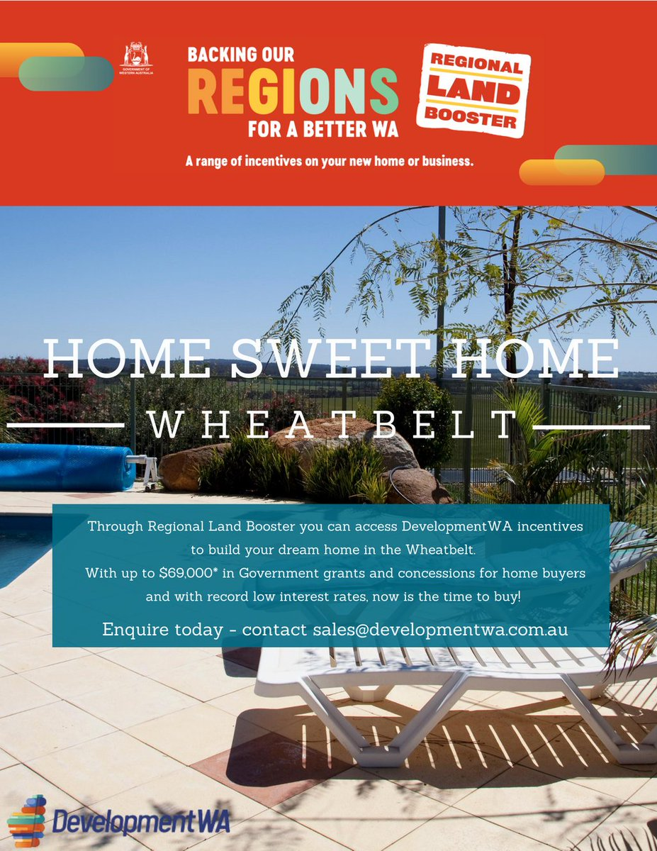 Is it time to build your dream home in the #Wheatbelt? As part of the $116 million Regional Land Booster package, you can access DevelopmentWA incentives on eligible residential blocks. To find out more click here https://t.co/X5LfPE2rZI #DevelopmentWA #LandDevelopment #FirstHome https://t.co/hxv1G54vlp