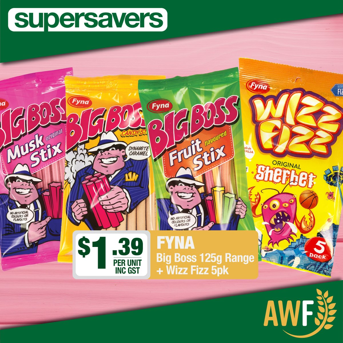 YUM! Big Boss 125g Range and Wizz Fizz 5 pack bags available in this months Super Savers!  View it online: https://t.co/dqDe9CSRpD ------------- 📞 Call us: (08) 9041 1424 📧 Email: sales@allwaysfoods.com.au #supersavers #AWF #AllwaysFoods #merredin #muskstix #fyna #wizzfizz https://t.co/tKjK09LjXX