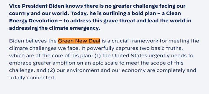 BIDEN'S WEBSITE SAYS HE SUPPORTS THE GREEN NEW DEAL https://t.co/bzK0fn3ZCz