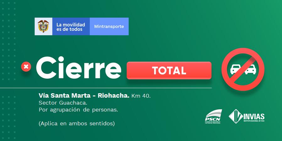 ¡Buenas noches! #NovedadVial Departamento de #Magdalena en el sector Guachaca se presenta cierre total.  #EnDesarrollo   Trabajamos para mantenerte informado. https://t.co/sNduNtt0QG