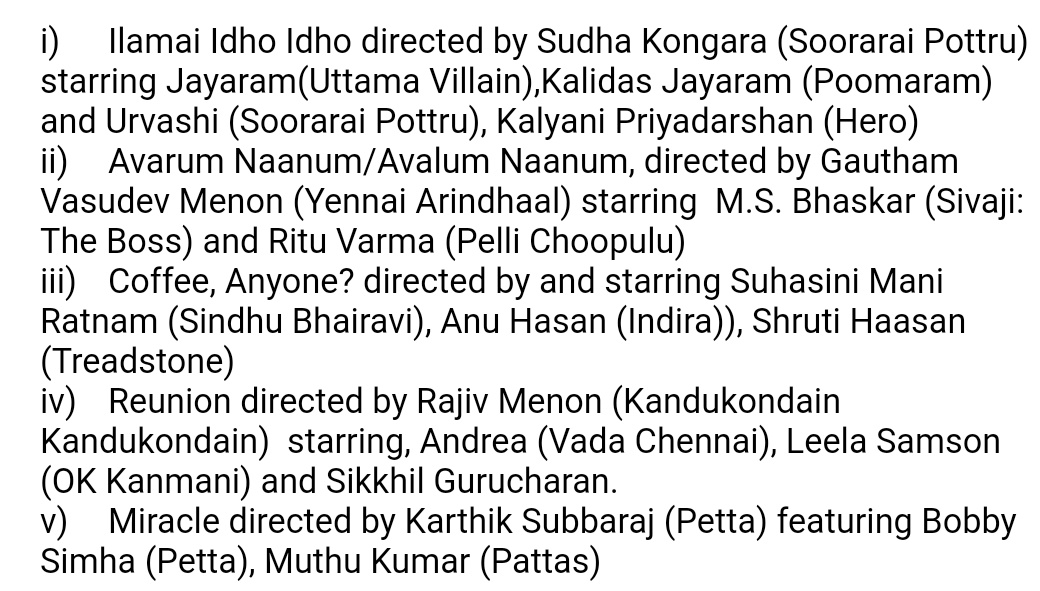 #PuthamPudhuKaalai - Ttle of the shorts and cast details.   @PrimeVideoIN @DoneChannel1 https://t.co/H311vAeIcW