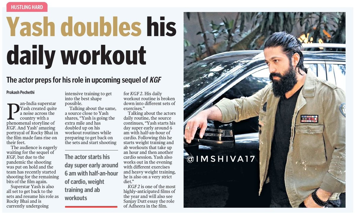 @TheNameIsYash doubles his   daily workout   #Yash preps for his  role in upcoming sequel of #KGF  #KGFChapter2 #KGF2 https://t.co/LGlwkTzGSk