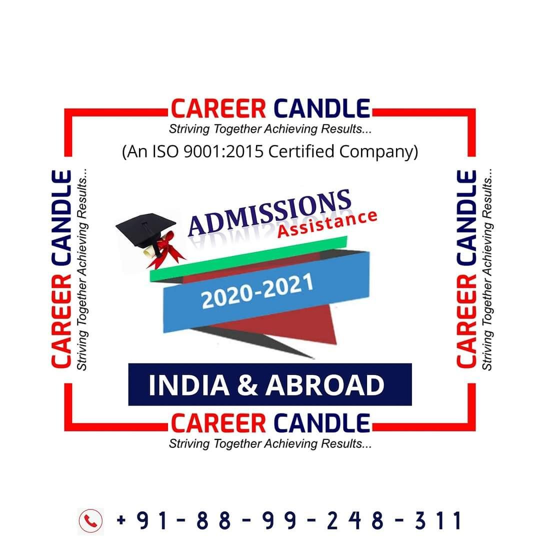Admission open for all UG / PG / PhD Courses in India And Abroad #careercandle #AdmissionOpen2020  #staysafe #stayhealthy #Lockdown #usemasks #counselling #EducationConsultant https://t.co/vluqfHXADY