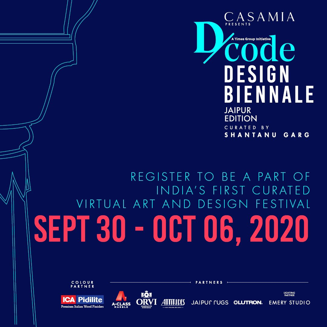 Casamia presents D/code Design Biennale. (@dcodeindia )   Register now for free, and we'll save you a seat! Click the link in bio or tap this link: https://t.co/eJOKYIpF4D https://t.co/E5o6R4FyHf