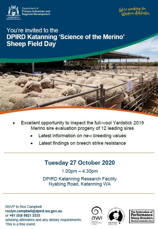 Save the date - 27 October 2020 for 'Science of the Merino' Sheep Field Day at our Katanning Research Facility https://t.co/9qpMcCO2ci