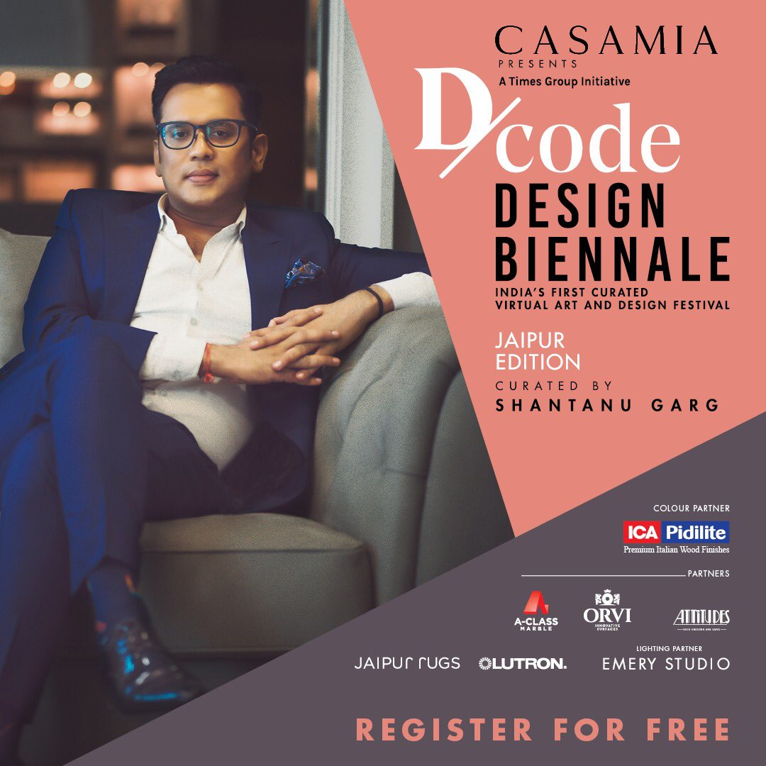 Casamia presents D/code Design Biennale, is going live at 2 pm today! The Jaipur Edition, curated by designer Shantanu Garg, brings together some of the biggest brands and the most prolific names in the worlds of art, design, and architecture.  @shantanugargdes https://t.co/NtYTWAspFw
