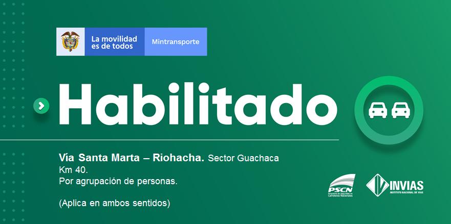 ¡Buenas noches!   #NovedadVial Departamento de #Magdalena actualmente se encuentra #Habilitada    Trabajamos para mantenerte informado. Estamos #ConstruyendoPaís https://t.co/LZHNTPu353