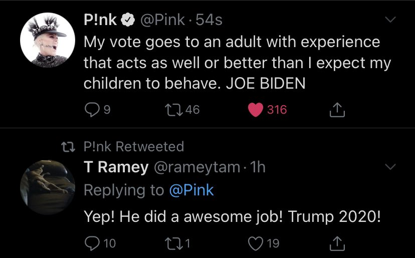 Oh i did Honey cakes. My vote goes to JOE BIDEN because I don't believe in racists and liars. 🖕🏽