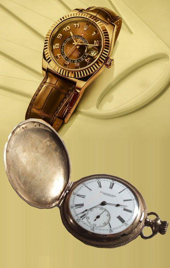 una vecchia cipolla e un lussuoso, sofisticato e recente orologio su una cosa sono d'accordo